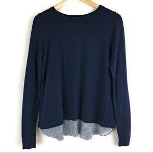 Boden Navy Blue Wool Split Back Crewneck Sweater
